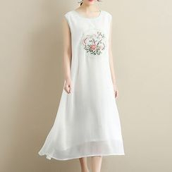 Sparrow Farm - Set: Embroidered Sleeveless Midi Dress + Open-Front Long Jacket