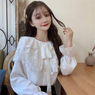 AKANYA - Long-Sleeve Lace Panel Shirt