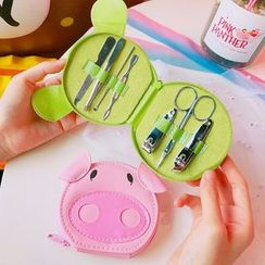 Yunikon - Manicure Set with Frog / Pig Pouch