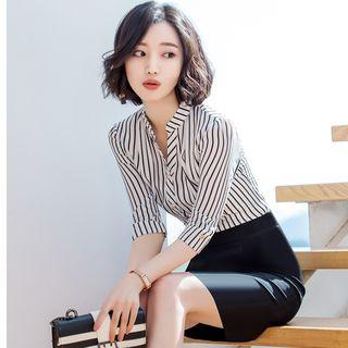 Victoire - 中袖條紋襯衫 / 鉛筆迷你裙 / 西裝長褲 / 套裝