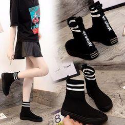 Vindler - Contrast-Trim Short Sock Boots