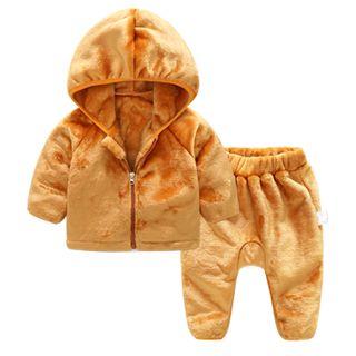 MOM Kiss - Baby Set: Plain Hooded Jacket + Pants