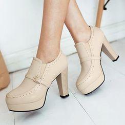Aegina - Platform Block-Heel Strapped Ankle Boots
