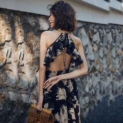 Kokuko - Cut Out Back Printed Maxi Sundress