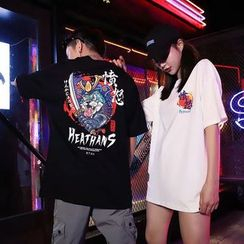 Macho - Couple Matching Elbow-Sleeve Printed T-Shirt