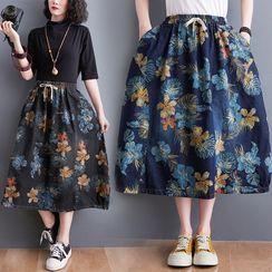 RAIN DEER - Floral Print Midi Skirt