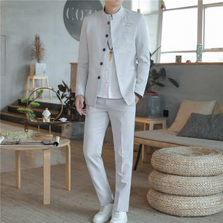 Chopit - Set: Embroidered Button-Up Jacket + Dress Pants
