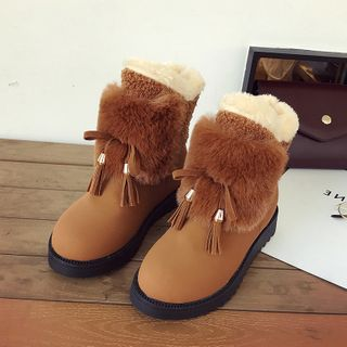 Aneka - Tassel Hidden-Wedge Ankle Snow Boots