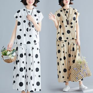 RAIN DEER - Set : Dotted Stand-Collar Short-Sleeve Shirt + Wide-Leg Pants