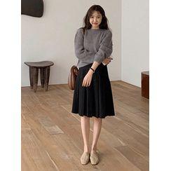 maybe-baby - Band-Waist Plated Midi Skirt With Sash