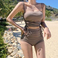 DJ Design - 套裝: 純色泳衣上衣 + 下裝