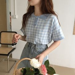 Flowerisque - Short-Sleeve Plaid Polo Shirt