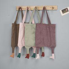 TangTangBags - 足部装饰灯芯绒购物袋