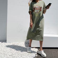 NANING9 - Bulldog Print Long T-Shirt Dress