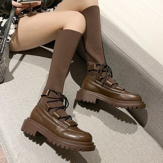 Weiya - 繫帶高身靴