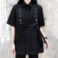 LINSI - Elbow-Sleeve Shirt / Buckled Strap