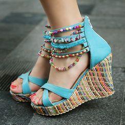 Megan - 珠饰船跟厚底凉鞋