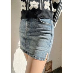 chuu - Inset Shorts Denim Miniskirt