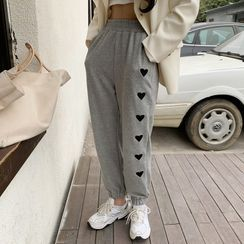 Dute - Heart Embroidered Sweatpants
