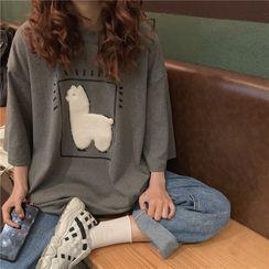 IndiGirl - Elbow Sleeve Applique T-Shirt