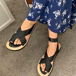 FROMBEGINNING - Crossed Ankle-Band Slide Sandals