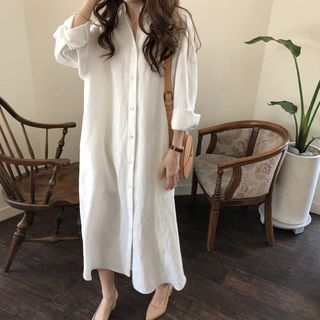 Antoinine - Plain Long-Sleeve Midi Shirt Dress