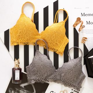 Senshia - Set: Lace Wireless Bra + Panties