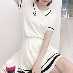 Fashion Street - Set: Striped Short-Sleeve Polo Shirt + High Waist Pleated Skirt