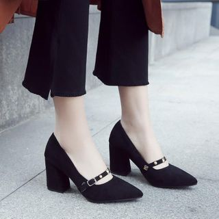 JY Shoes - Studded Chunky-Heel Mary Jane Pumps