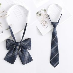 College Affair(カレッジアフェア) - Plaid Adjustable Pre-tied Bow Tie / Tie (various design)