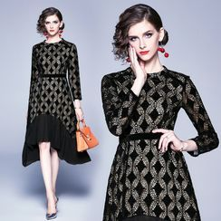 Yonna - Asymmetric Long-Sleeve A-Line Lace Dress