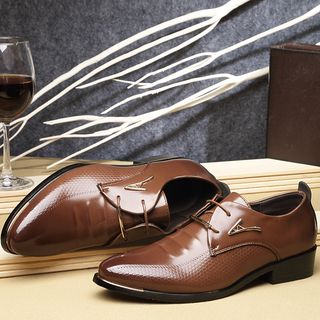 Taragan - Faux Leather Metal Accent Oxford Shoes