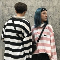 Malnia Home - Couple Matching Long Sleeve Striped Polo Shirt