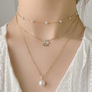 Kulala - 仿珍珠合金蝴蝶吊墜多層貼脖項鏈