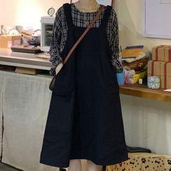 Dute - Long-Sleeve Plaid Blouse / Plain Pinafore Dress