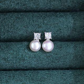 FOON - Rhinestone Faux Pearl Drop 925 Sterling Silver Earring