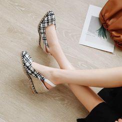 Freesia - 船跟印花草编织凉鞋