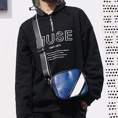 ETONWEAG - Faux Leather Contrast Panel Crossbody Bag