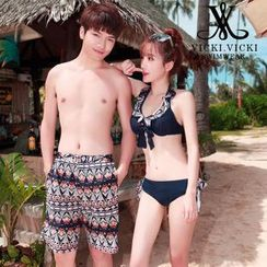 Vicki Vicki - Couple Matching Patterned Bikini / Cover-Up / Swim Shorts / Set