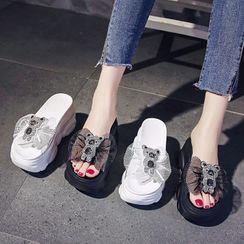 Sleeko - 蕾丝蝴蝶结透明厚底船跟凉鞋