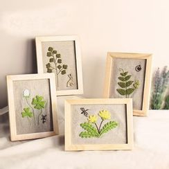 Embroidery Kingdom - Embroidered Plant  DIY Sewing Kit with Photo Frame