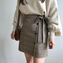 Brigitte - Tie-Waist Plaid Mini Skirt