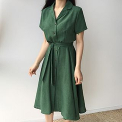 Envy Look - Short-Sleeve Shirtdress with Sash