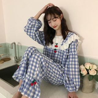 Dshe - Cherry-Accent Gingham Pajama Set: Lace-Panel Puff Long-Sleeve Top + Ruffle-Hem Pants