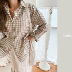 NANING9 - Long-Sleeve Plaid Shirt
