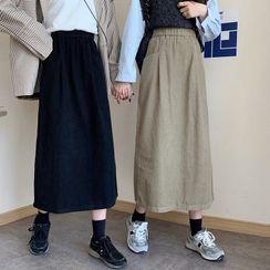 FABUR - Corduroy Midi A-Line Skirt