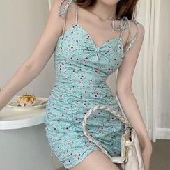 Amanee - Spaghetti Strap Floral Shirred Mini Bodycon Dress