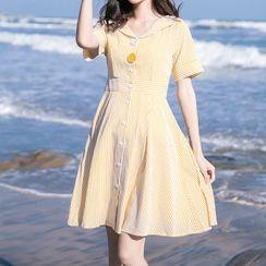 MIDUONI - 短袖迷你條紋A字連衣裙