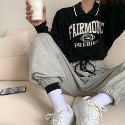 Gaika - 长袖印花T裇/宽腿牛仔裤/纯色宽腿运动裤