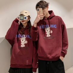 Ink Brush - Couple Matching Bear Print Hoodie